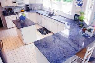 Blue Kitchen Countertops On antique white kitchen cabinets with granite countertops