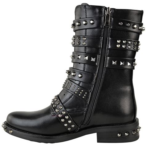 ladies biker style boots womens ladies studded ankle boots buckle western biker