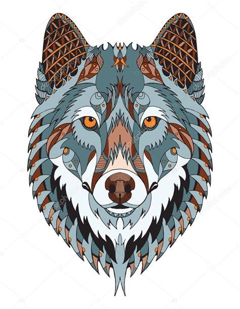 pattern drawing wolf gray wolf head zentangle stylized vector illustration