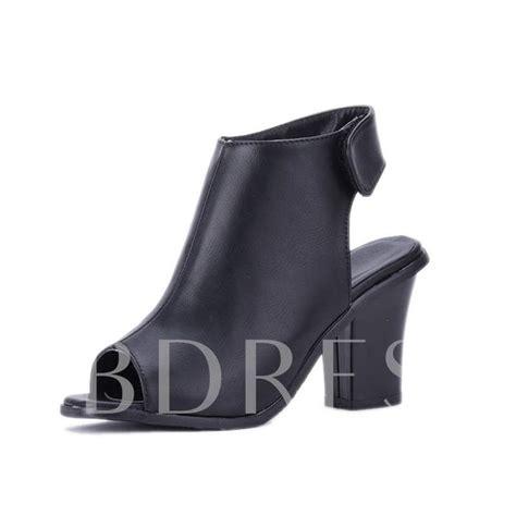 Chunky Heel Peep Toe Sandals peep toe velcro plain chunky heel s sandals
