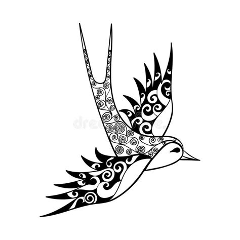 swallow tribal tattoo tribal bird totem for coloring