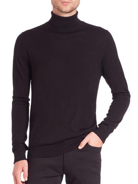Kemeja Black Slim Fit lyst vince camuto slim fit turtleneck in black for
