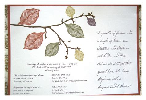 earth themed wedding invitations bridal shower invitations fall leaves in earth tones