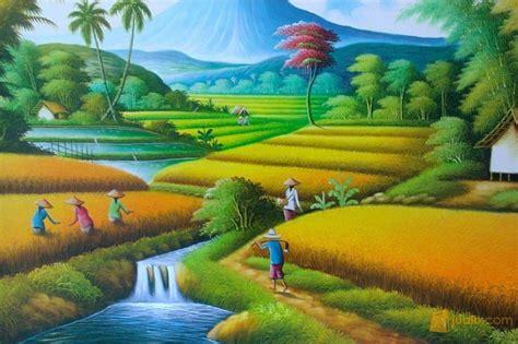Lukisan Pemandangan Pegunungan lukisan pemandangan gunung sawah dan sungai wallpaper keren
