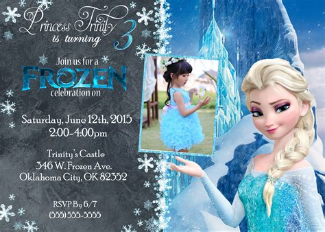 frozen birthday invitation with photo frozen birthday invitations kustom kreations