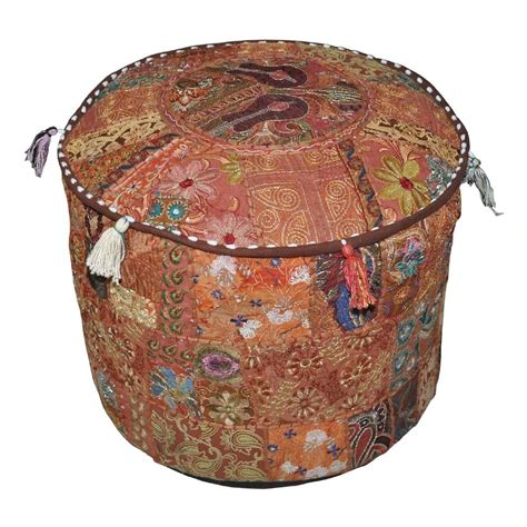 Small Decorative Ottomans Ethnic Indian Decorative Ottoman Stool Embroidrey