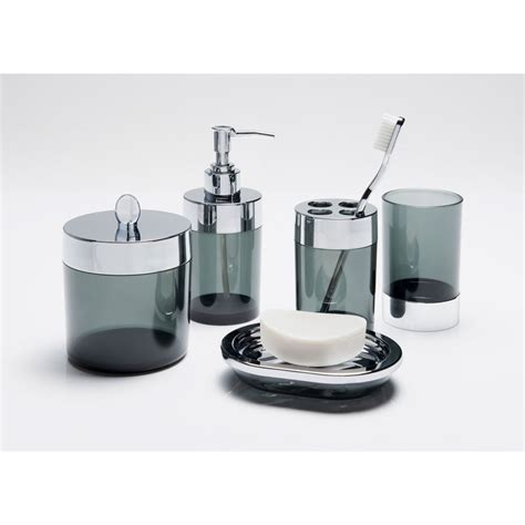 Grey Bathroom Accessories Bathroom Accessories Set 5pc Smoked Grey Bathroom B M