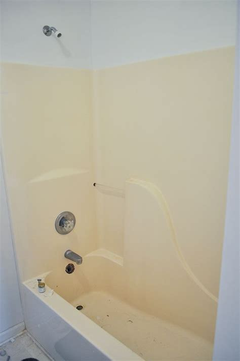 fiberglass paint for bathtubs how we painted our old yellow fiberglass bathtub to make