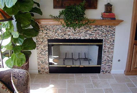 Pebble Tile Fireplace by 1000 Images About Mosaic Fireplaces On Mosaic Fireplace Mosaic Tile Fireplace And