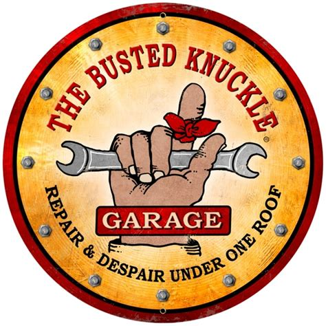The Busted Knuckle Garage by Retro Busted Knuckle Garage Large Tin Sign