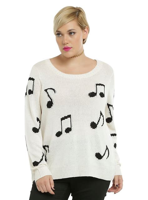 Sweater Musically ivory note pullover sweater plus size topic