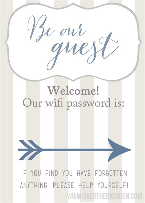 wifi password courtesy card templates creating a guest space when you don t room