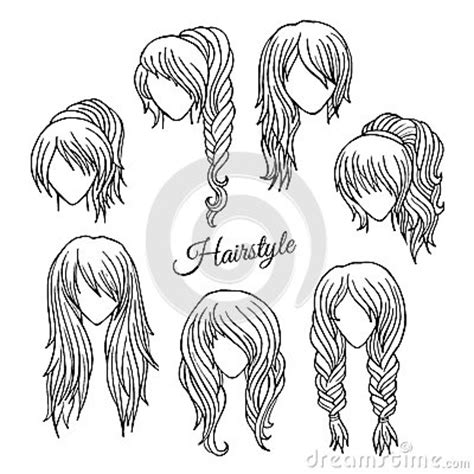 Hair Styler Dryer With Cool Setting Draw by Hair Styles Sketch Vector Set Stock Vector Image 39978084