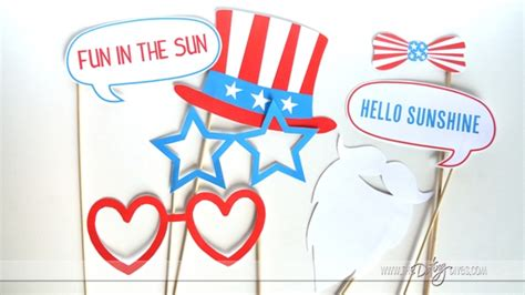 printable patriotic photo booth props 4th of july summer photo booth props