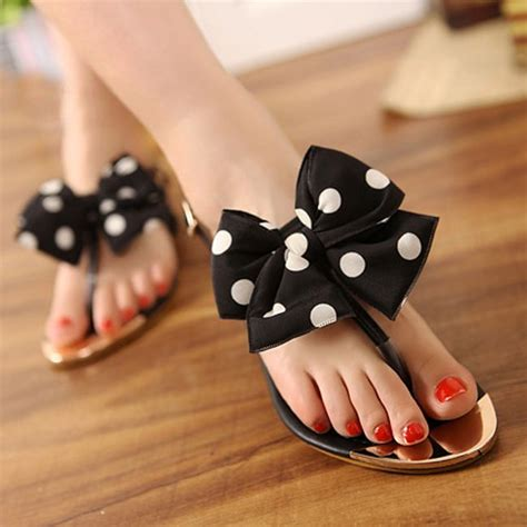 flat shoes with bows 2013 bow dot sandals s metal flat shoes s