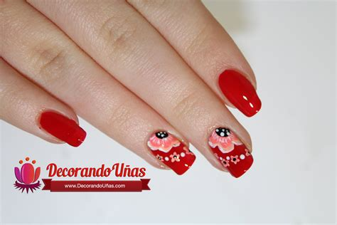 imagenes de uñas acrilicas en color rojo u 241 as color rojo decoradas con hermosa flores youtube
