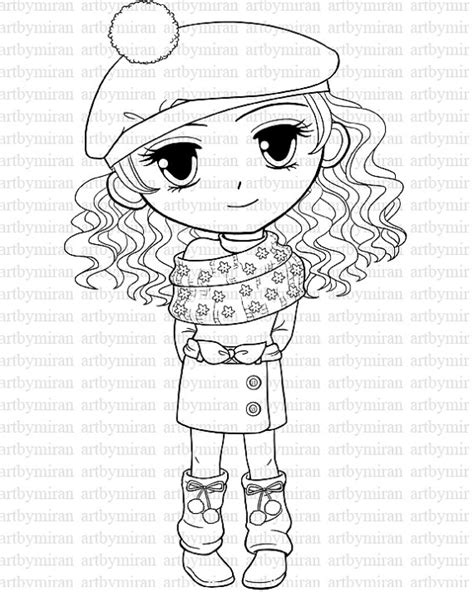 digital st winter coloring page big eyed girl by artbymiran