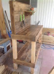 Pallet Bench Ideas Potting Bench Made From Repurposed Wooden Pallets 1001