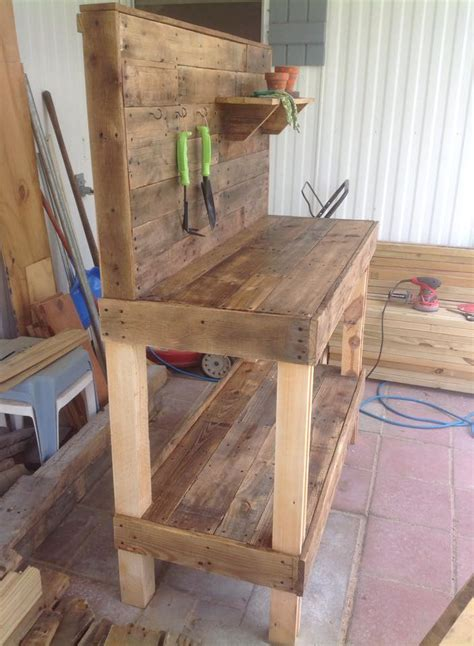 bench made from pallets pallet work table plans