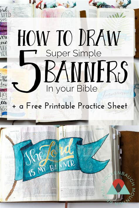 how to insert a ton comfortably how to draw 5 super simple banners in your bible t his