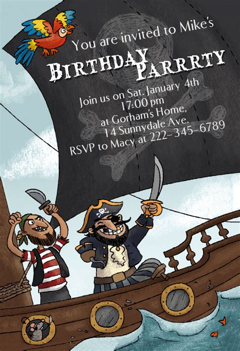 pirates party birthday invitation template   island