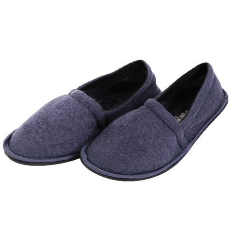 sole comfort shoes mens slippers house shoes terry slip on flexible sole