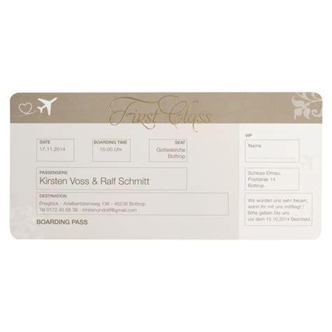 Hochzeitseinladung Flugticket Vorlage by Hochzeitseinladung Quot Flugticket Quot Im Boardkarten Stil