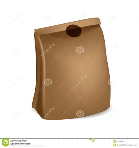 Folded Paper Bag - brown paper bag with sticker on folded part stock vector