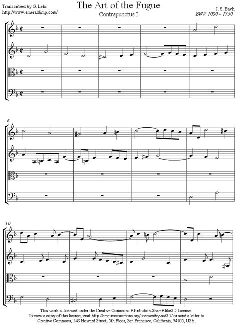 Of Fugue String Quartet - bach contrapunctus 1 from of fugue sheet for