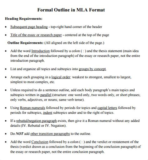 mla format outline template sle mla outline template 10 free documents in pdf word