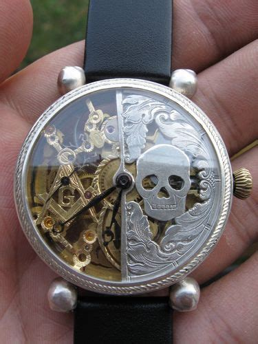 Omega Skeleton Gear Silverblack vintage wrist watches and skulls on