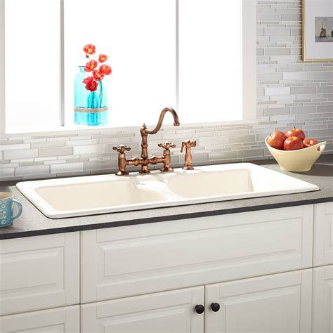 Where To Buy Sinks For Kitchen by 43 Quot Selkirk Bisque Bowl Cast Iron Drop In Kitchen