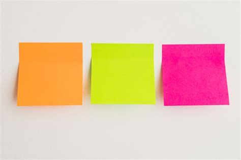 three colors sticky notes in three colors photo free