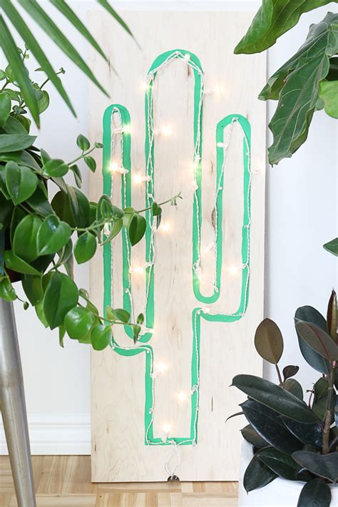 hello string lights diy faux neon cactus light using string lights hello lidy