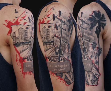 la tattoos los angeles trash polka style