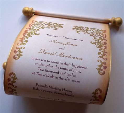 renaissance scroll wedding invitations wedding invitation scroll with aged damask by artfulbeginnings