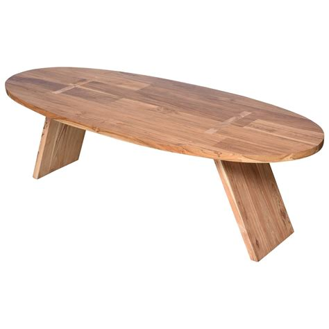 Handmade Tables For Sale - coffee table teak wood oval surfboard shape handmade