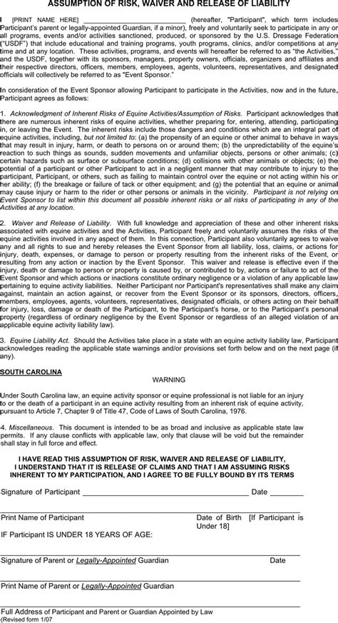 Free South Carolina Assumption Of Risk Waiver And Release Of Liability Pdf 30kb 3 Page S Risk Waiver Form Template