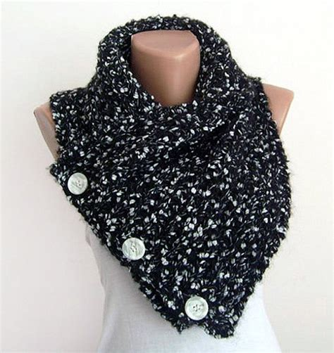 knitted scarf with buttons cowl oversized knit neck