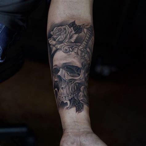 black and grey dagger tattoo skull tattoo skull and rose tattoo skull and dagger