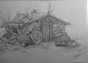 dessins d une vieille grange et d un temple espagnol
