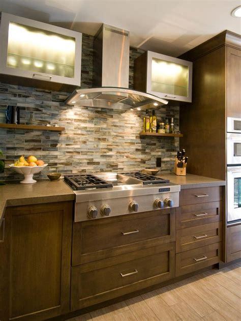 kitchen backsplash hgtv feel the home this bold mosaic tile backsplash open shelving and new