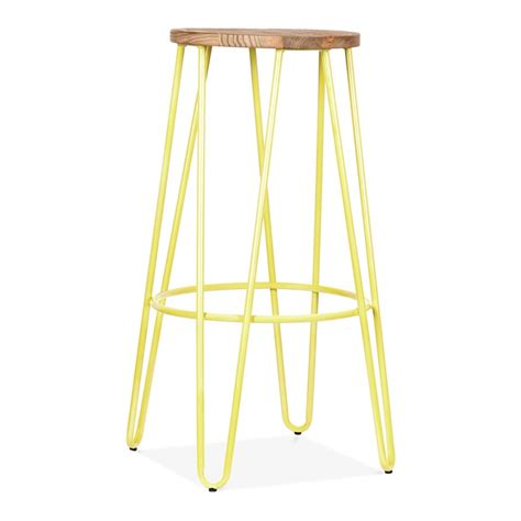 What Does A Yellow Stool by Cult Living Hairpin Stool In Yellow With 76cm Wood Seat