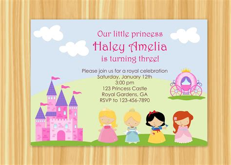 princess birthday invitation templates princess invitations wording home ideas
