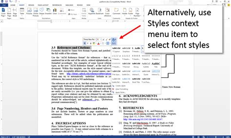 word layout styles create an accessible acm submission using microsoft word