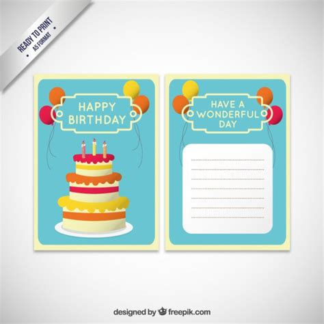 Birthday Cake Card Template by Birthday Invitation Card Template With Cake Vector Free