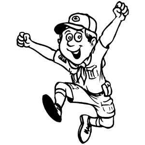 Boy Jumping Coloring Page | happy jumping boy scout coloring page