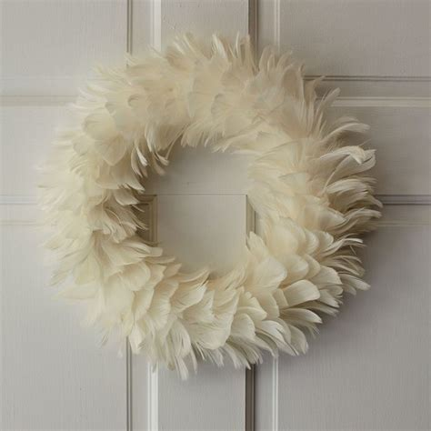 feather wreath white modern wreaths and garlands by