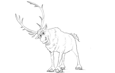 Sven Outline by How To Draw Sven Deer From Frozen