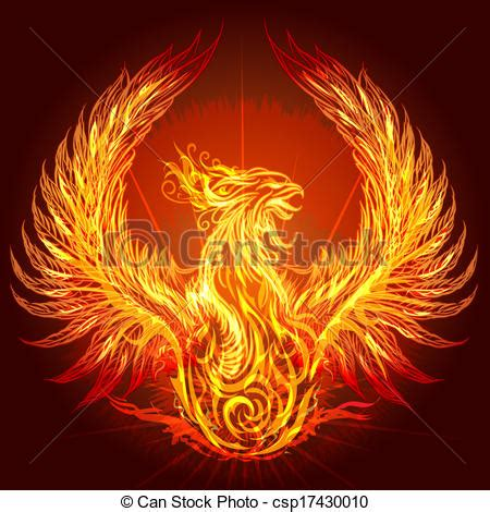 vector clip art of the phoenix illustration with burning